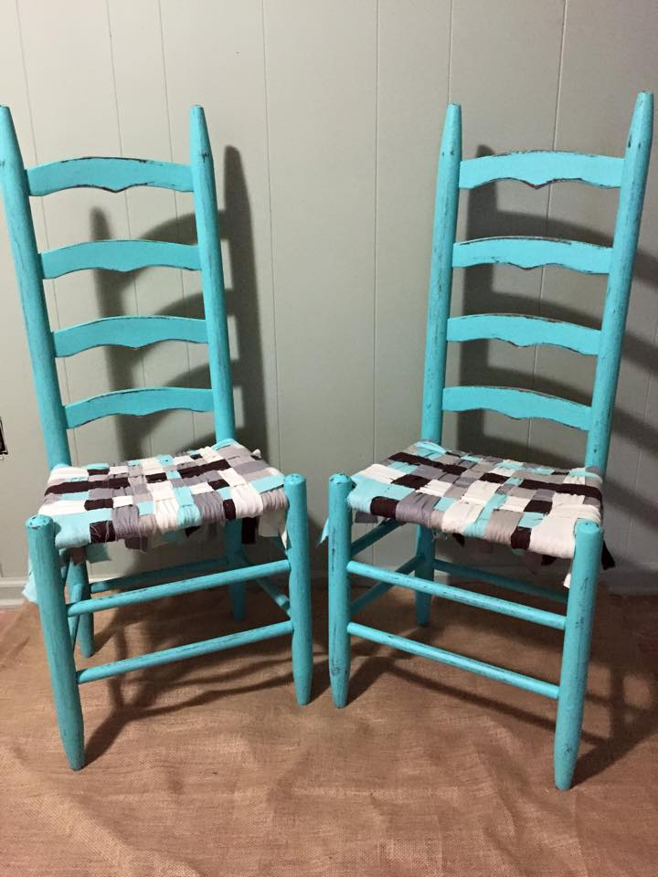 Delicieux Distressed Turquoise Chairs With Fabric Woven Seats By Milk House Furniture